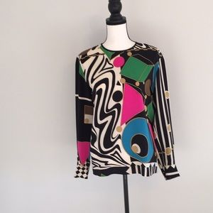 Louis Feraud Set Silk Op-Art Blouse